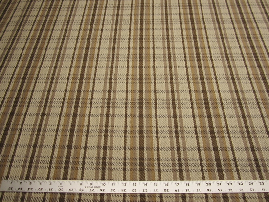 Western plaid earth tones jacquard upholstery fabric