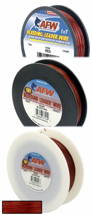 American Fishing Wire Bleeding Leader Blood Red Nylon Coated 1x7 Stainless Steel Leader Wire