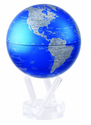 """4.5"""" Cobalt Blue and Silver MOVA Globe with automatic rotation feature"""