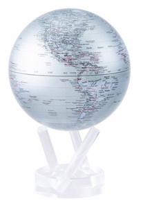 "4.5"" Silver Earth MOVA Globe with automatic rotation feature"