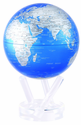 """6"""" Cobalt Blue and Silver MOVA Globe with automatic rotation feature"""