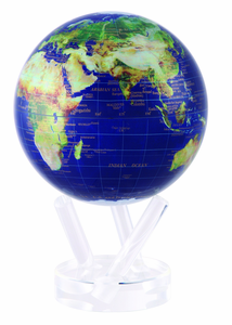 "6"" Satellite View MOVA Globe with gold lettering and automatic rotation feature"