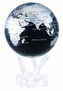 "6"" Silver Black Metallic MOVA Globe with automatic rotation feature"