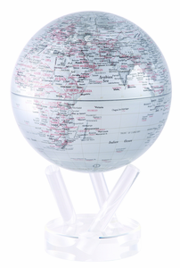 "6"" Silver Earth MOVA Globe with automatic rotation feature"