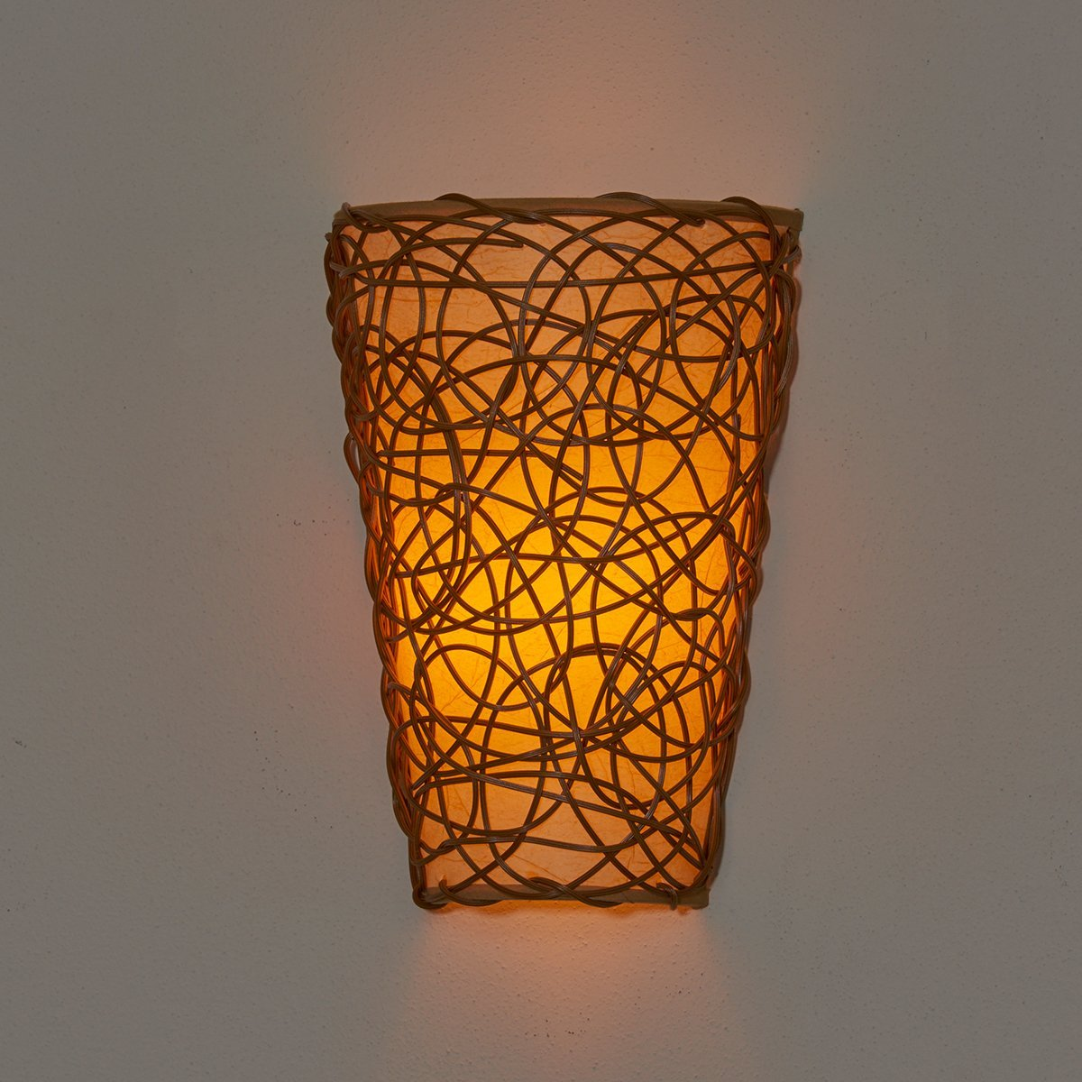 Battery operated wall sconce wicker style amipublicfo Gallery