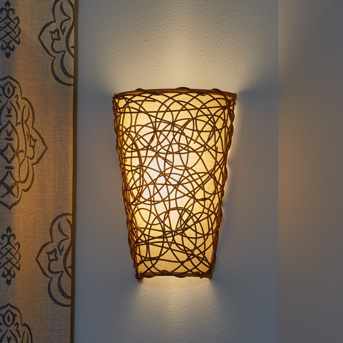 Battery operated wall sconce wicker style amipublicfo Choice Image