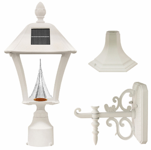 Baytown Solar Lamp Fixture With Pole, Post & Wall Mount Kit - White Finish
