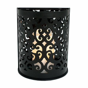 """Black Montrose Wall Sconce with 3x5"""" Resin Timer Candle"""