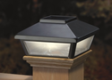 "Pewter Solar Post Cap Light, Decorative Solar Light for 4x4 Posts (Inside Dimensions measure 3-5/8"" x 3-5/8"")"