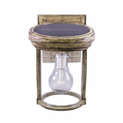 Solar Coach Lantern with GS Solar LED Light Bulb with Weathered Bronze Finish