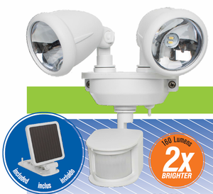 Solar Powered Dual Head LED Security Spotlight