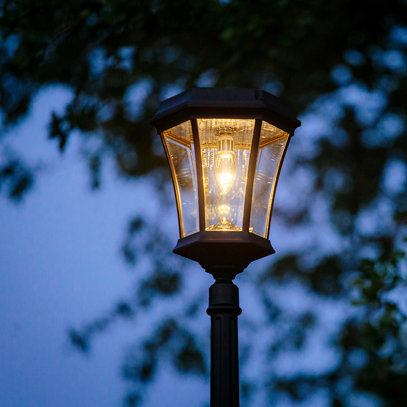 Victorian single solar lamp post with warm white gs solar light bulb aloadofball Image collections