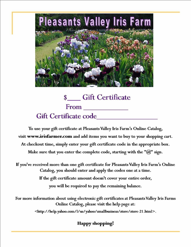 Gift certificate template tall bearded irises pleasants valley iris farms online catalog mightylinksfo