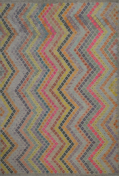 "Kilim Earrings Flatweave Rug: 9'6"" x 7'3"""