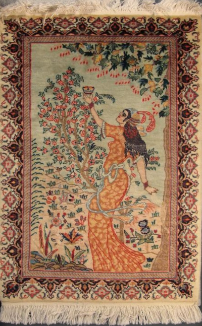 "Tabriz illustré: 3'1"" x 2'1"""