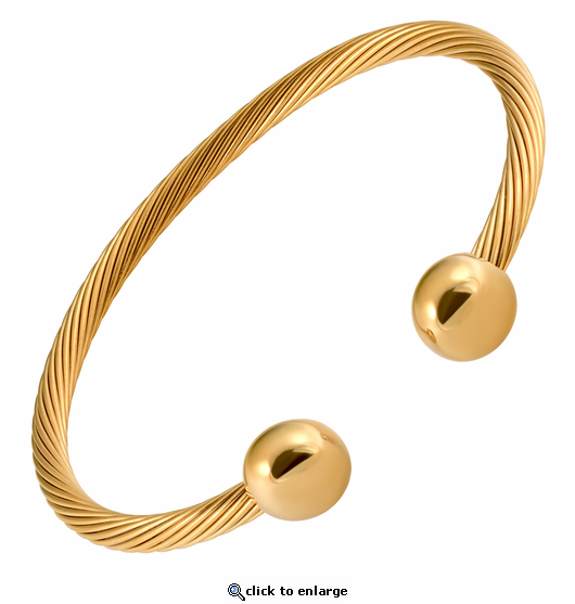 All Stainless Steel Gold Cable Magnetic Therapy Bracelet