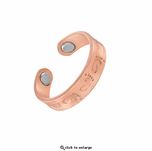 Copper Adjustable Magnetic Therapy Ring Footprints
