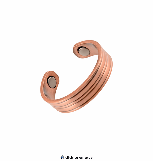 2 Copper Adjustable Magnetic Therapy Rings Straight Lines