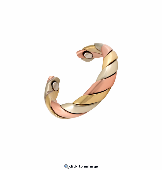 2 Copper Adjustable Magnetic Therapy Rings Triple Swirl