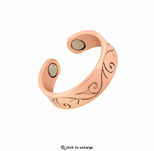 Copper Adjustable Magnetic Therapy Ring Vineyard