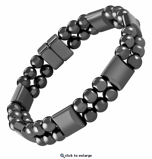 Double Hematite Magnetic Therapy Bracelet