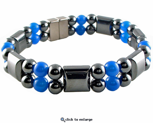 Double Hematite Magnetic Therapy Bracelet Blue Agate