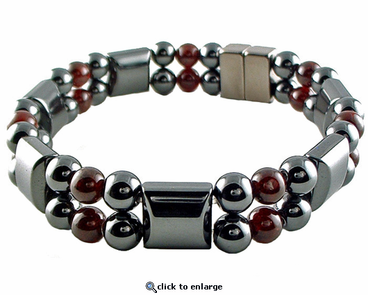 Double Hematite Magnetic Therapy Bracelet Garnet