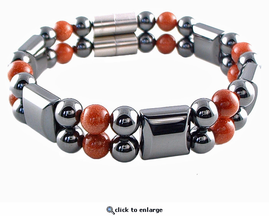 Double Hematite Magnetic Therapy Bracelet Goldstone