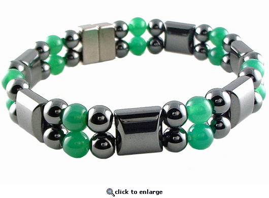 Double Hematite Magnetic Therapy Bracelet Green Agate
