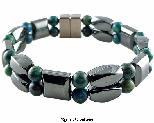 Double Hematite Magnetic Therapy Bracelet Lapis Twister