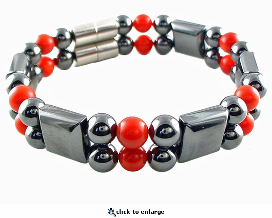 Double Hematite Magnetic Therapy Bracelet Red Coral