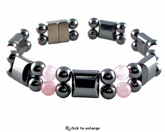 Double Hematite Magnetic Therapy Bracelet Rose Quartz
