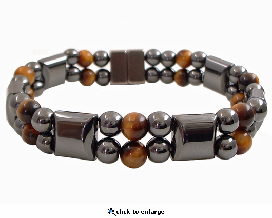 Double Hematite Magnetic Therapy Bracelet Tiger Eye