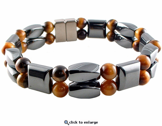 Double Hematite Magnetic Therapy Bracelet Tiger Eye Twister