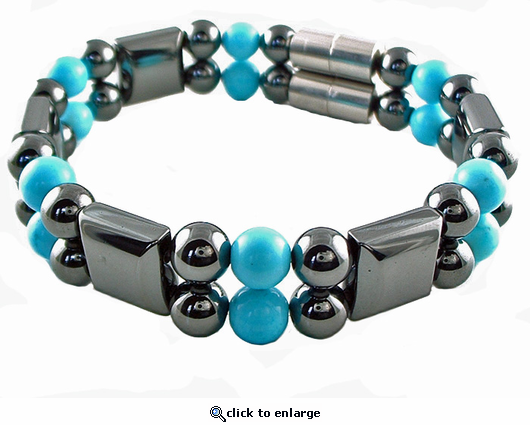 Double Hematite Magnetic Therapy Bracelet Turquoise