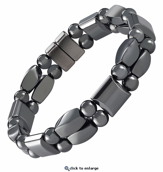 Double Hematite Magnetic Therapy Bracelet Twister