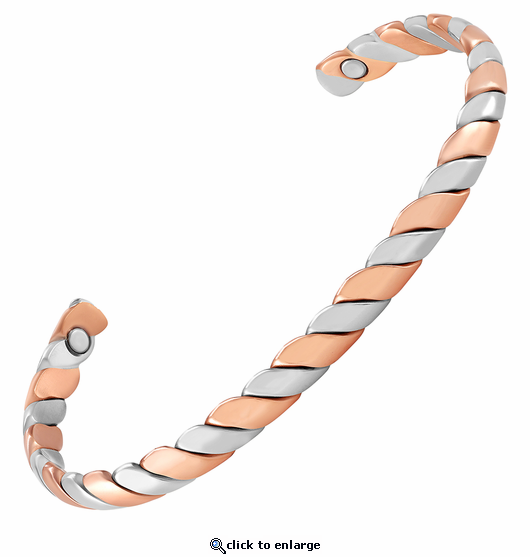 Double Twist Copper Magnetic Therapy Bracelet