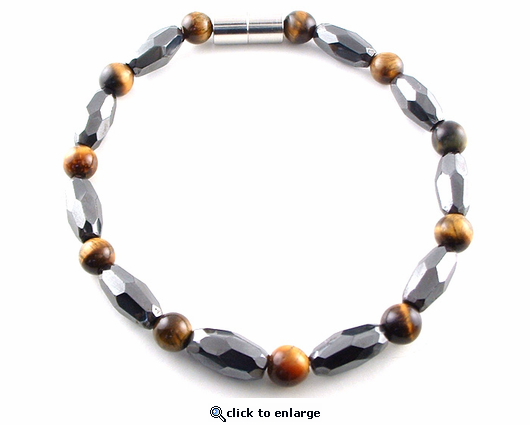Hematite Magnetic Anklet Tiger Eye Grand Marquise