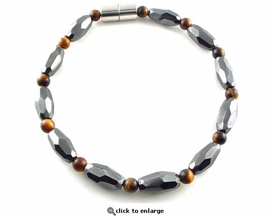 Hematite Magnetic Necklace Tiger Eye Grand Marquise Jr