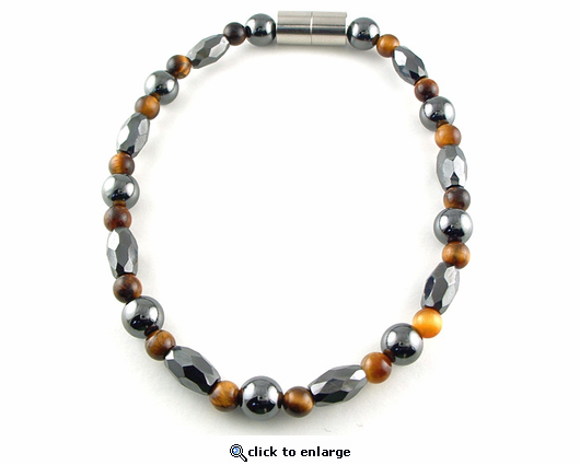 Hematite Magnetic Anklet Trey Marquise Tiger Eye