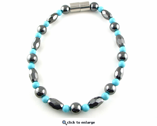 Hematite Magnetic Necklace Trey Marquise Turquoise