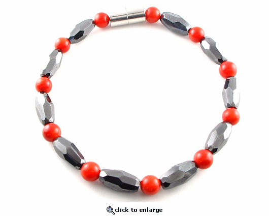 Hematite Magnetic  Necklace Red Coral Grand Marquise