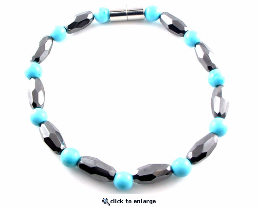 Hematite Magnetic Bracelet Turquoise Grand Marquise