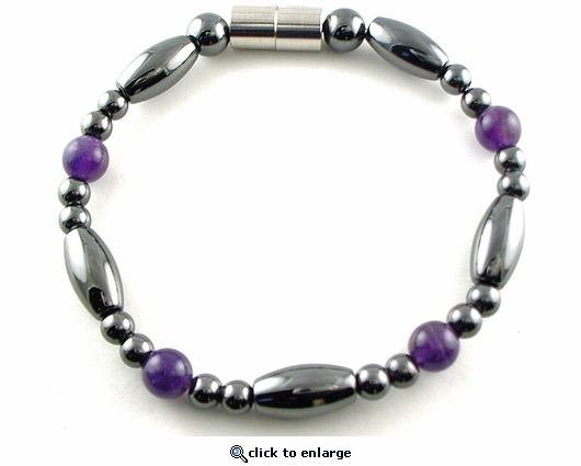 Hematite Magnetic Therapy Necklace Amethyst Saturn