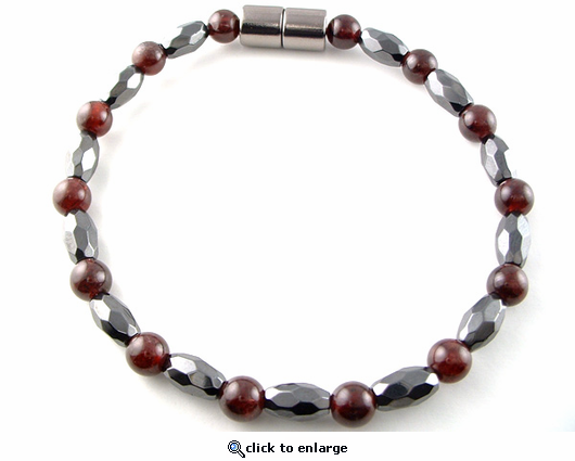 Hematite Magnetic Therapy Necklace Garnet Marquise