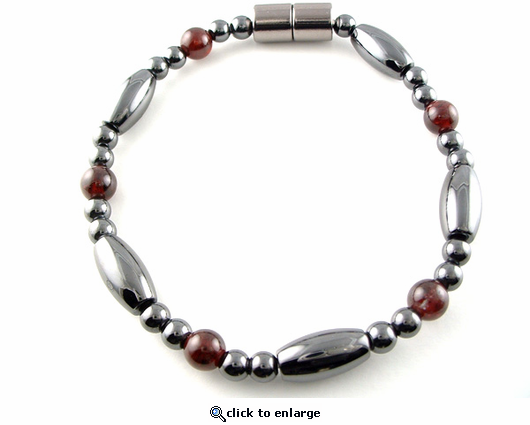 Hematite Magnetic Therapy Necklace Garnet Saturn