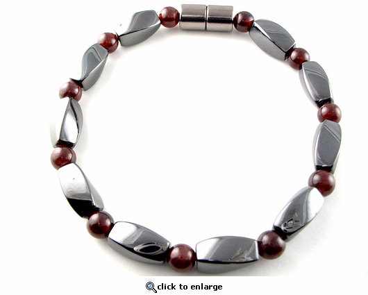 Hematite Magnetic Therapy Bracelet Garnet Twister