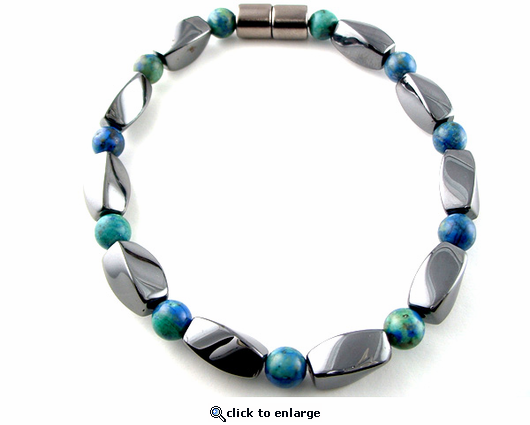 Hematite Magnetic Therapy Necklace Lapis Twister