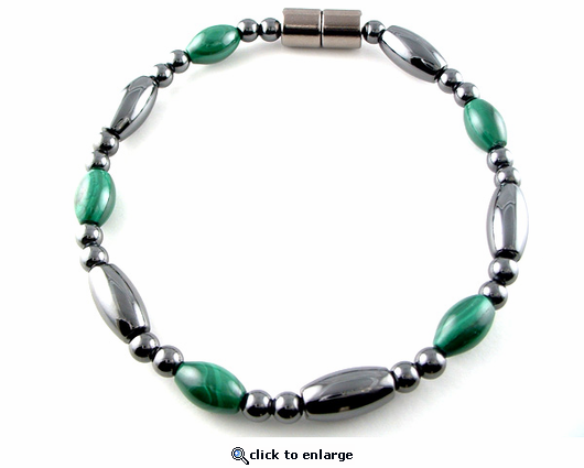 Hematite Magnetic Therapy Bracelet Malachite Saturn