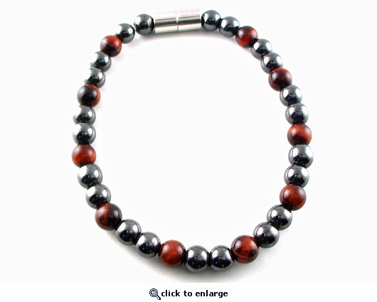 Hematite Magnetic Therapy Necklace Red Tiger Eye Unity